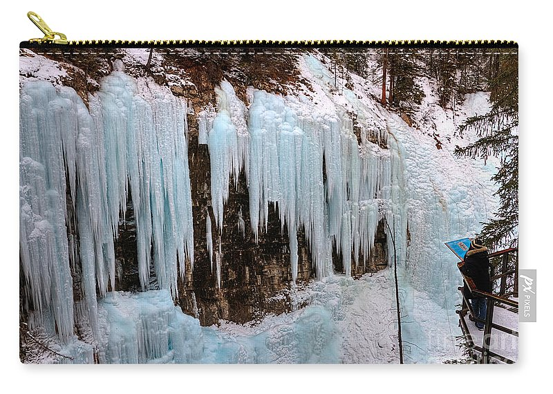 Johnston Canyon Carry-all Pouch featuring the photograph Icicleland by James Anderson