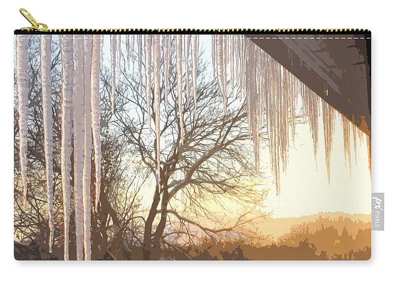 Icicles Carry-all Pouch featuring the photograph Icicles One by Ian MacDonald