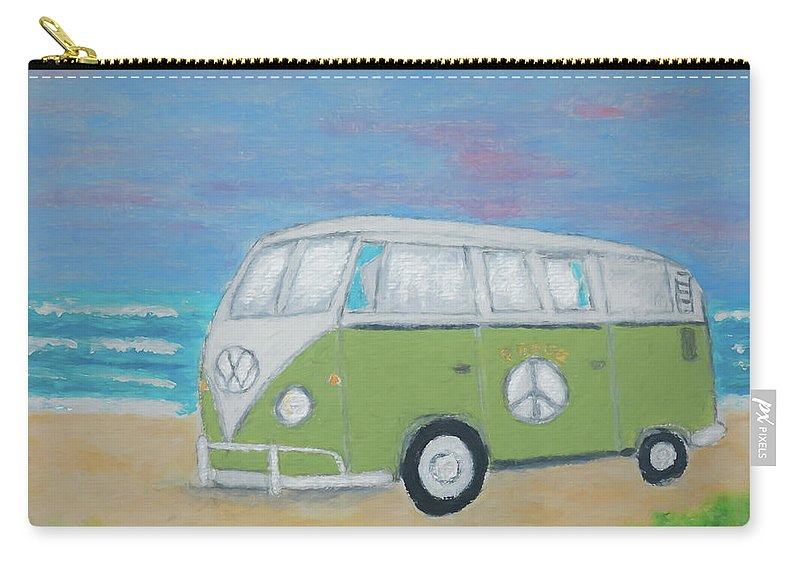 Volkswagen Carry-all Pouch featuring the painting Iconic Vw Camper by Laura Richards