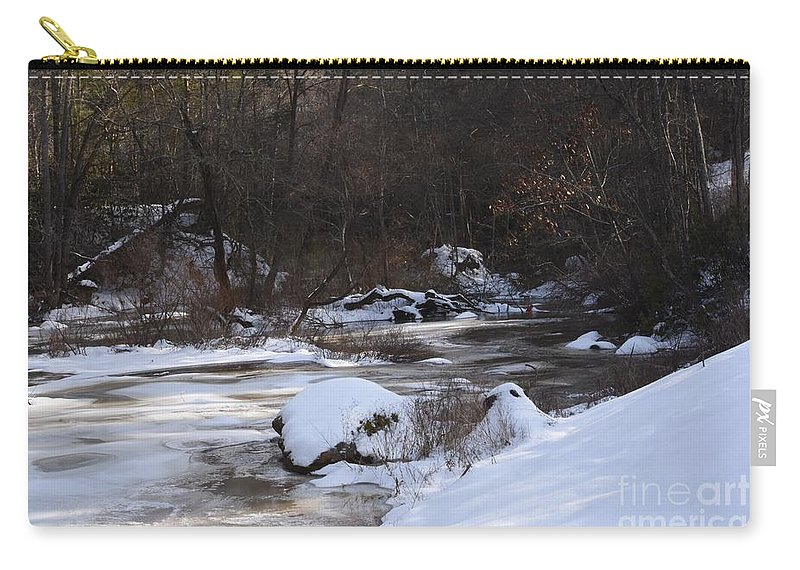 Creek Carry-all Pouch featuring the photograph Icy Creek by Hughes Country Roads Photography