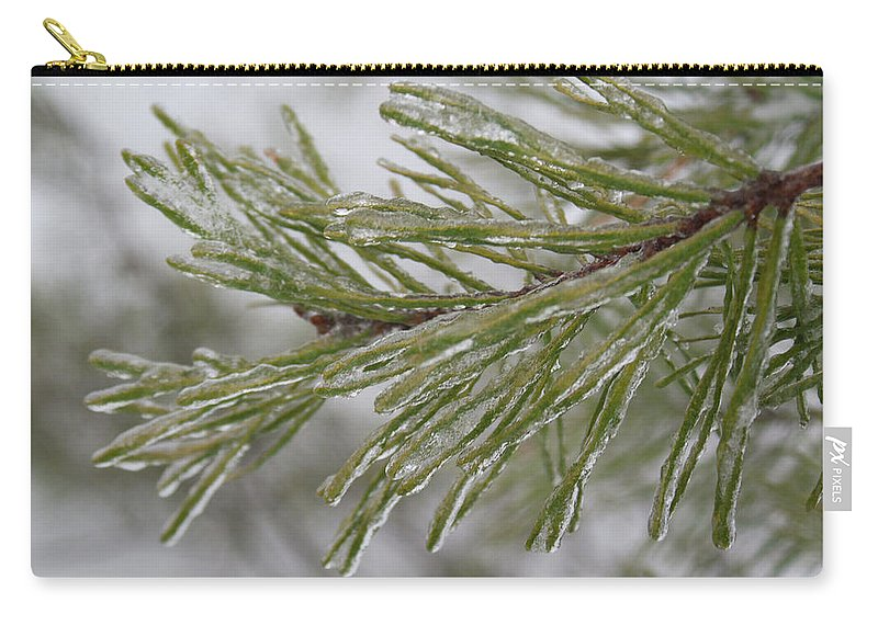 Icy Carry-all Pouch featuring the photograph Icy Fingers Of The Pine by Douglas Barnett