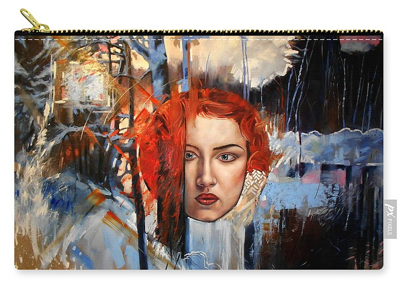 Portrait Carry-all Pouch featuring the painting Icy Fire by Flamur Miftari