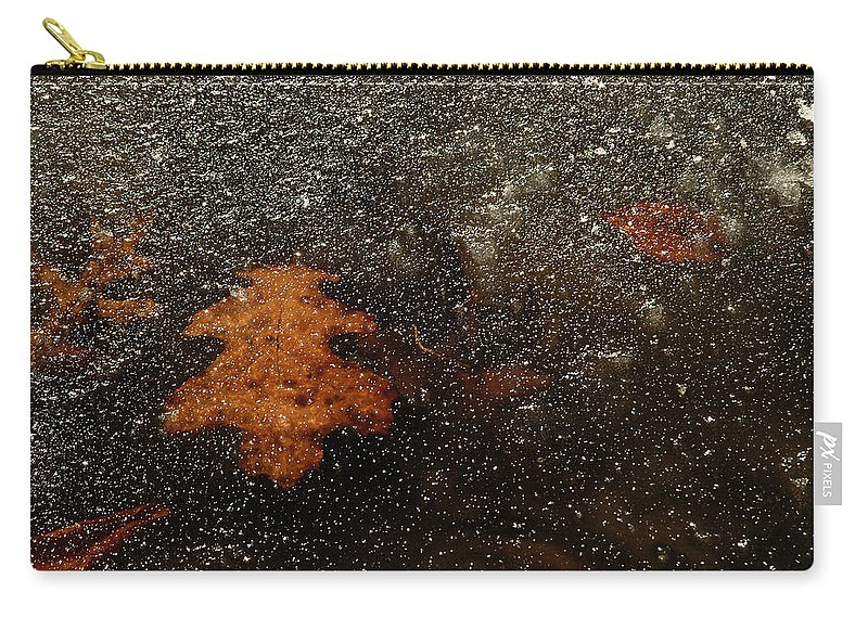 Leaf Carry-all Pouch featuring the photograph Icy Leaf by Michael McGowan