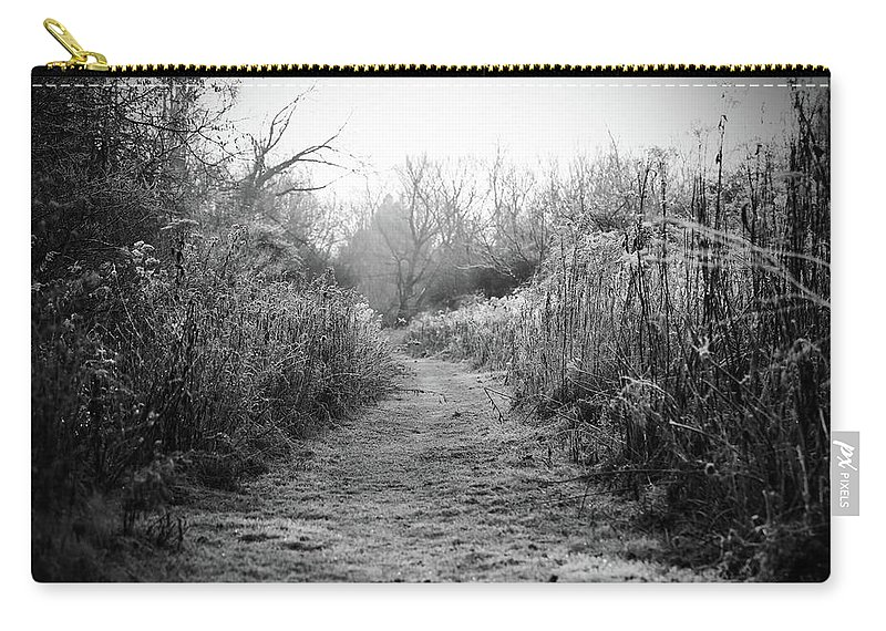 Black And White Landscape Carry-all Pouch featuring the photograph Icy Trail In Black And White by Brooke T Ryan