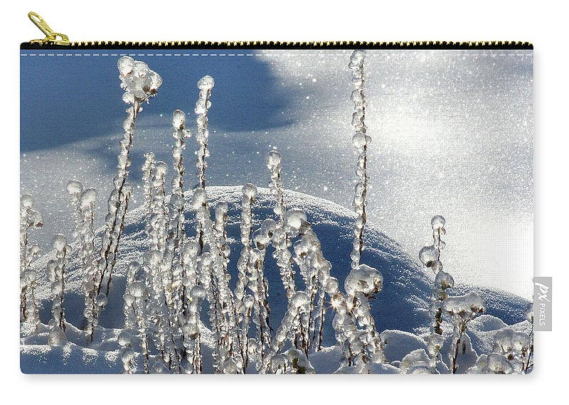 Icy Carry-all Pouch featuring the photograph Icy World by Doris Potter