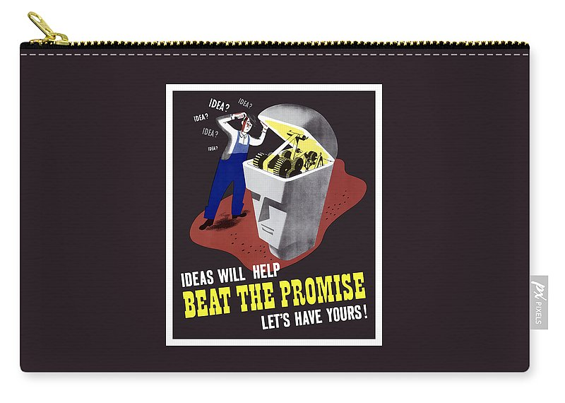Wwii Carry-all Pouch featuring the digital art Ideas Will Help Beat The Promise by War Is Hell Store
