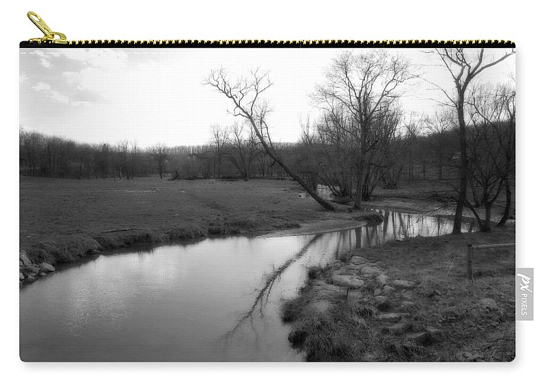Landscape Carry-all Pouch featuring the photograph Idyllic Creek - Black And White by Angela Rath