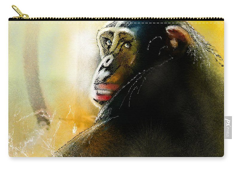 Chimp Carry-all Pouch featuring the painting If You Ask Me Out... by Miki De Goodaboom