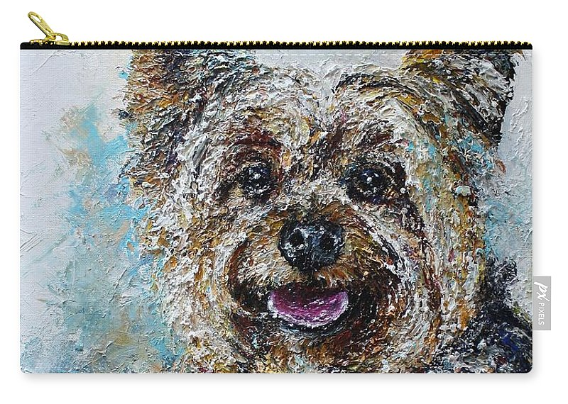 Silky Terrier Carry-all Pouch featuring the painting Iggy by Misha Ambrosia