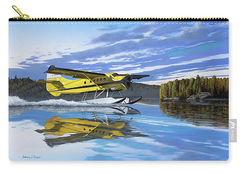 Canada Carry-all Pouch featuring the painting Ignace Adventure by Anthony J Padgett