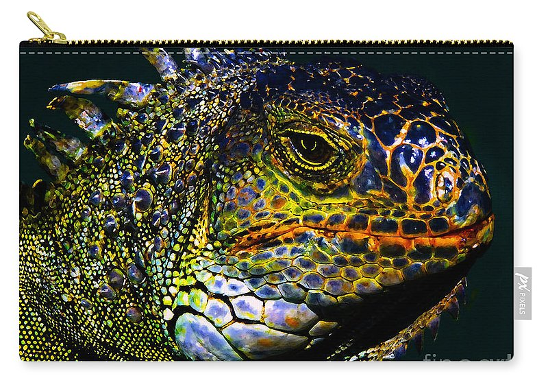 Art Carry-all Pouch featuring the painting Iguana by David Lee Thompson
