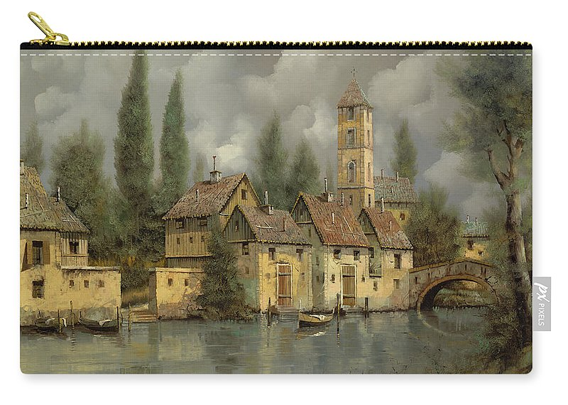 River Carry-all Pouch featuring the painting Il Borgo Sul Fiume by Guido Borelli