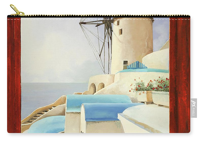 Windmill Carry-all Pouch featuring the painting Il Mulino Oltre La Finestra by Guido Borelli