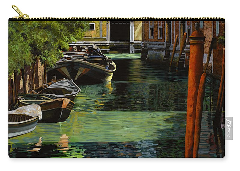 Venice Carry-all Pouch featuring the painting il palo rosso a Venezia by Guido Borelli