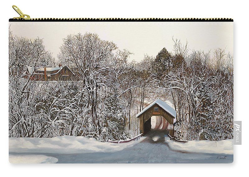 Stowe Carry-all Pouch featuring the painting Il Ponte Coperto Di Legno by Guido Borelli