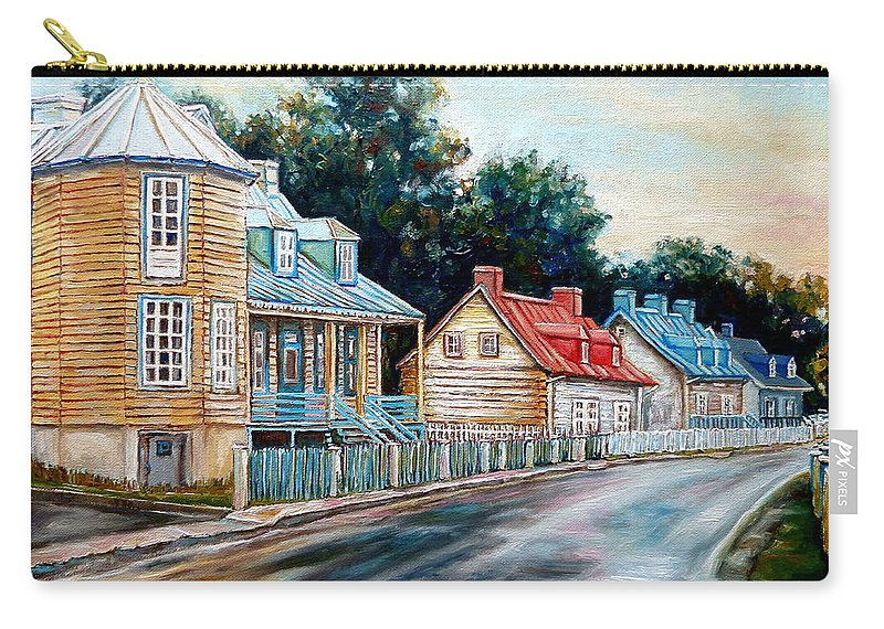 Ile D'orleans Carry-all Pouch featuring the painting Ile D'orleans Quebec Street Scene by Carole Spandau