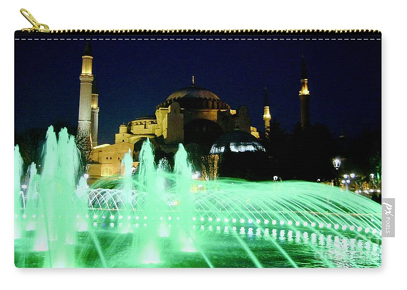 Istanbul Carry-all Pouch featuring the photograph Illuminated Fountain Of Istanbul by Rachel Morrison