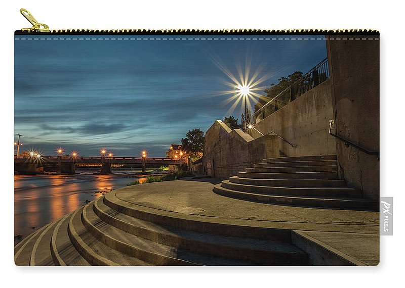 Dark Carry-all Pouch featuring the photograph Illuminated Staircase by Darlene Munro