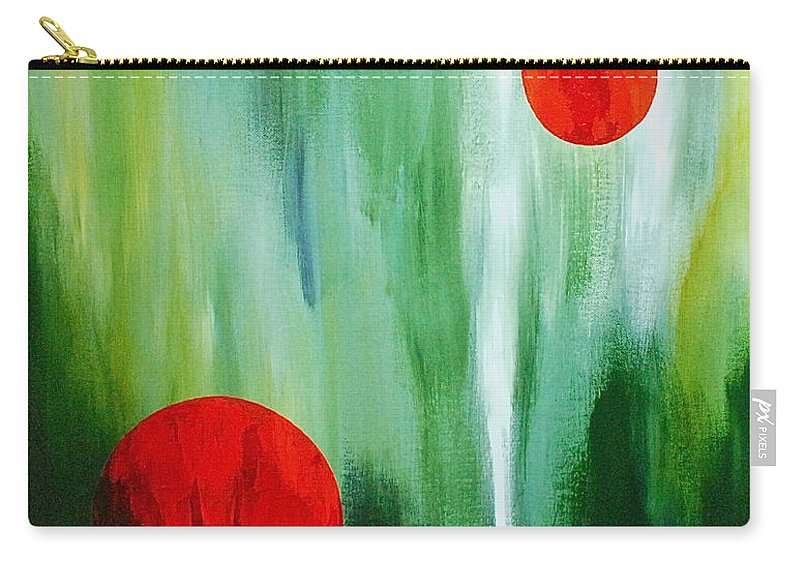 Abstract By Herschel Fall Red And Green Carry-all Pouch featuring the painting Illusion Of Light by Herschel Fall