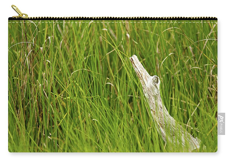 Alligator Carry-all Pouch featuring the photograph Illusions In The Grass by MotionOne Studios
