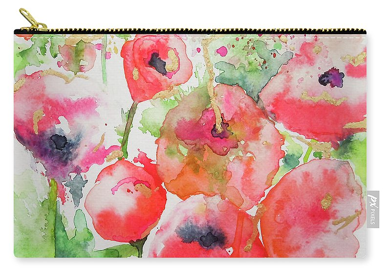 Poppies Carry-all Pouch featuring the painting Illusions Of Poppies by Roleen Senic
