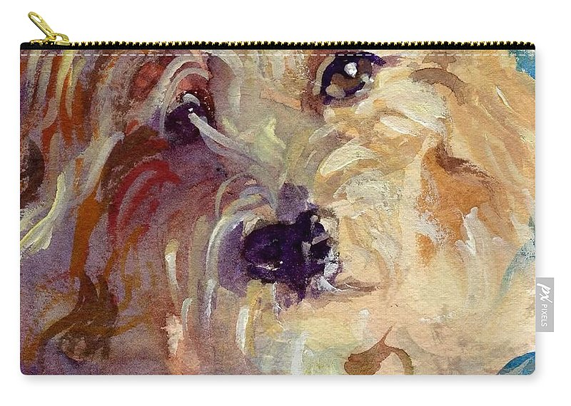 Cute Dog Carry-all Pouch featuring the painting I'm So Cute by Sheila Wedegis