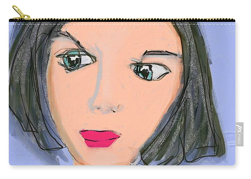 Digital Art; Ipad Art; Portraiture; Lavender Background; Lavender Lady Carry-all Pouch featuring the digital art I'm Watching You by Mary Jane Mulholland