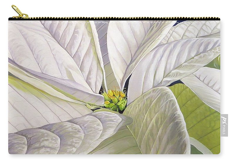 White Poinsettia Carry-all Pouch featuring the painting Swirl by Hunter Jay
