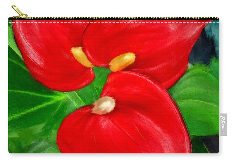 Immeasurable Beauty Anthurium Paintings Carry All Pouch For Sale By
