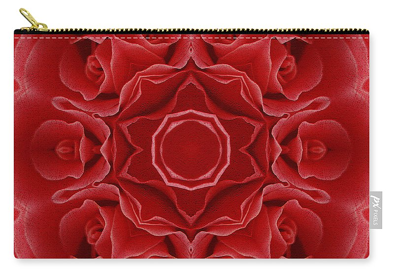 Abstract Carry-all Pouch featuring the mixed media Imperial Red Rose Mandala by Georgiana Romanovna