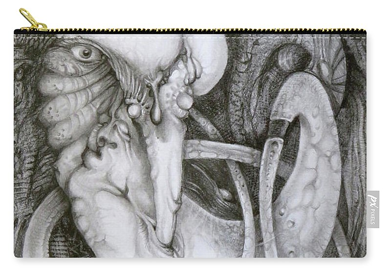 The Mystic Carry-all Pouch featuring the drawing Impossible Proposition by Otto Rapp