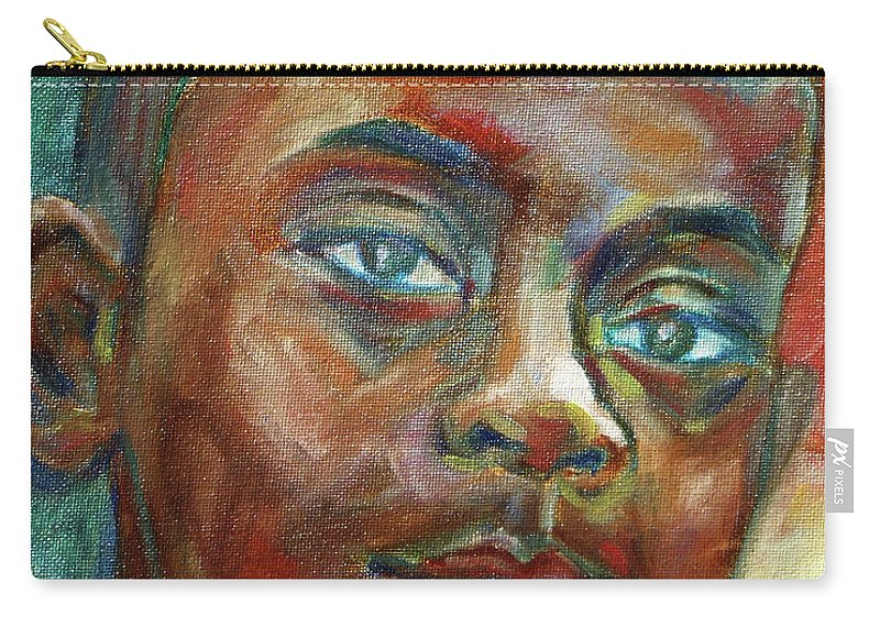 Boy Carry-all Pouch featuring the painting Impossible by Xueling Zou