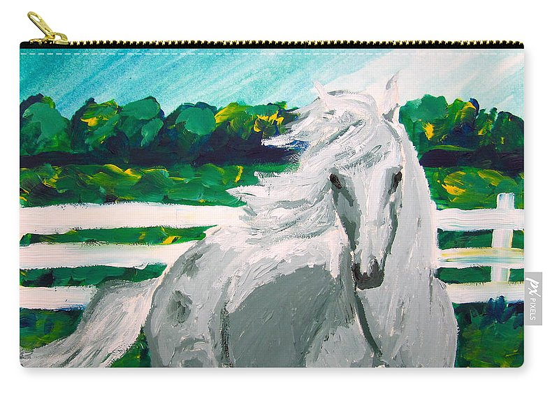 Horse Carry-all Pouch featuring the painting Impressionism Horse by Anna Katherine