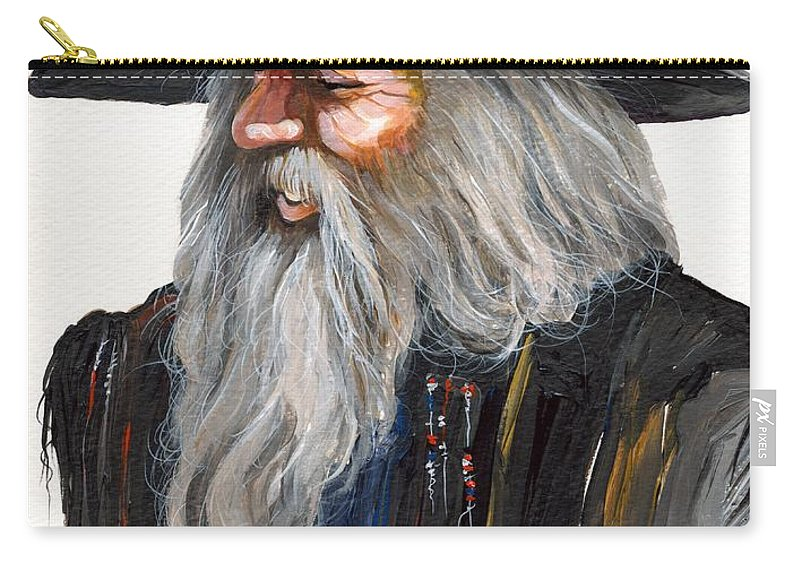 Fantasy Art Carry-all Pouch featuring the painting Impressionist Wizard by J W Baker
