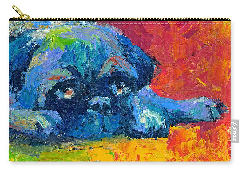 Pug Painting Carry-all Pouch featuring the painting impressionistic Pug painting by Svetlana Novikova