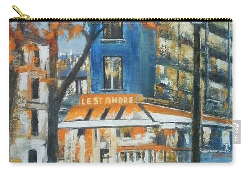 Cityscape Carry-all Pouch featuring the painting In A Night by Maria Karalyos