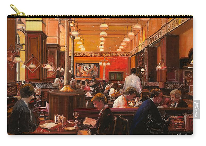 Coffee Shop Carry-all Pouch featuring the painting In Birreria by Guido Borelli