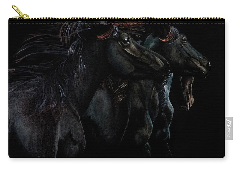 Grey Carry-all Pouch featuring the painting In Black Times Three by Dana Sherstad