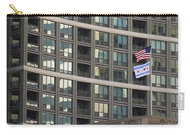 Chicago Windy City Metro Urban Building Windows Flag Reflection Carry-all Pouch featuring the photograph In Chicago by Andrei Shliakhau