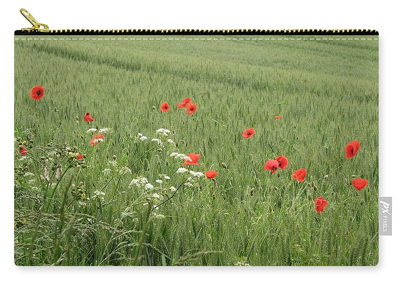 Lest-we Forget Carry-all Pouch featuring the photograph in Flanders Fields the poppies blow by Mary Ellen Mueller Legault