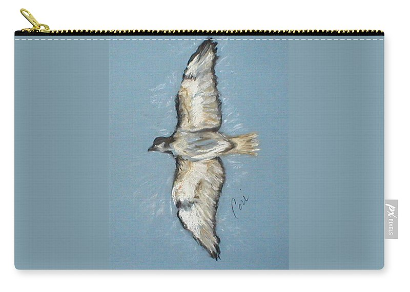 Bird Carry-all Pouch featuring the drawing In Flight by Cori Solomon