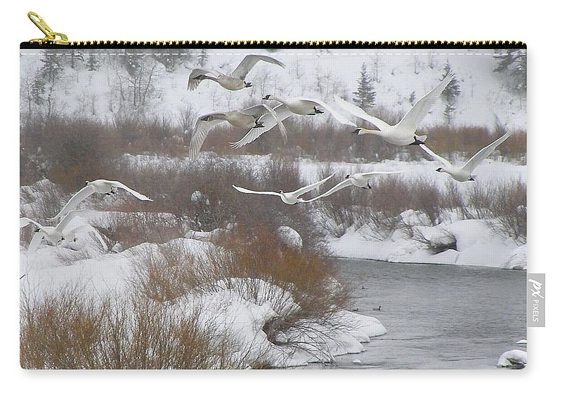 Bird Carry-all Pouch featuring the photograph In Flight by DeeLon Merritt