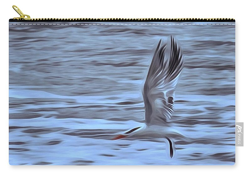 Seagull Carry-all Pouch featuring the photograph In Flight by Patricia Black