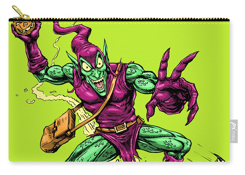 Green Goblin Carry-all Pouch featuring the drawing In Green Pursuit by John Ashton Golden