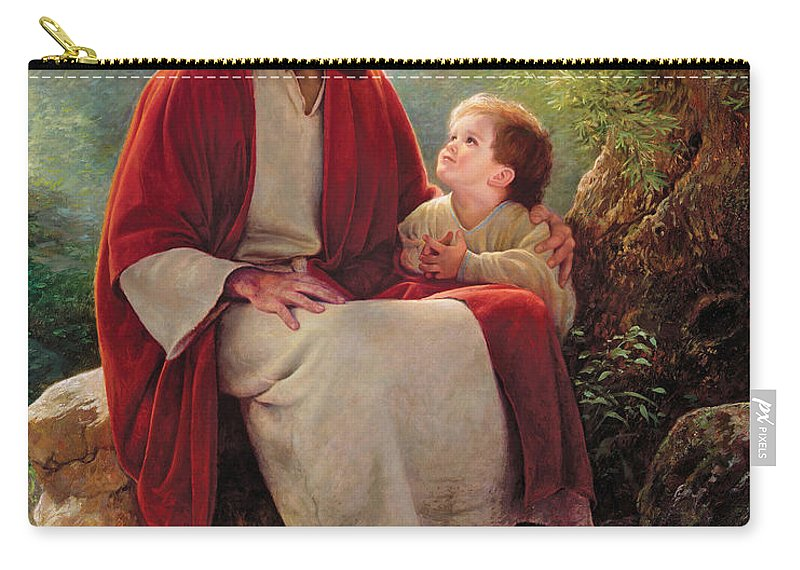 Jesus Carry-all Pouch featuring the painting In His Light by Greg Olsen