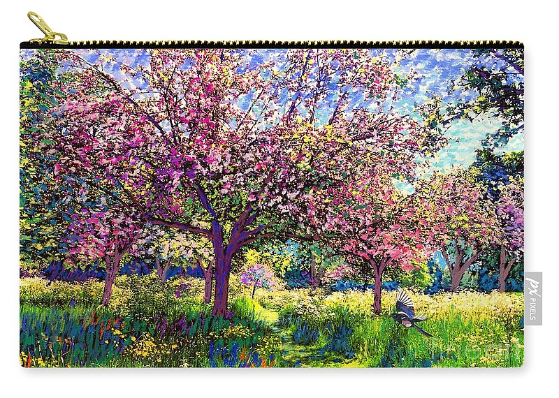 Blossom Carry-all Pouch featuring the painting In Love with Spring, Blossom Trees by Jane Small