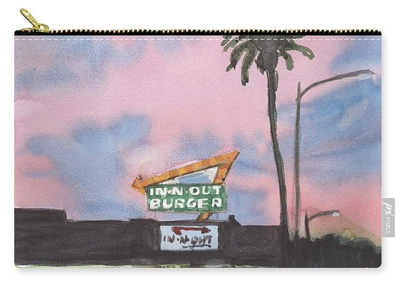 In N Out Carry-all Pouch featuring the painting In N Out Burger Pasadena California by Sandra Stone