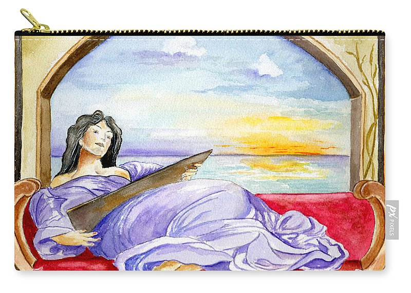 Landscape Woman Romantic Figure Window Sea Sky Carry-all Pouch featuring the painting In Paradisum by Brenda Owen
