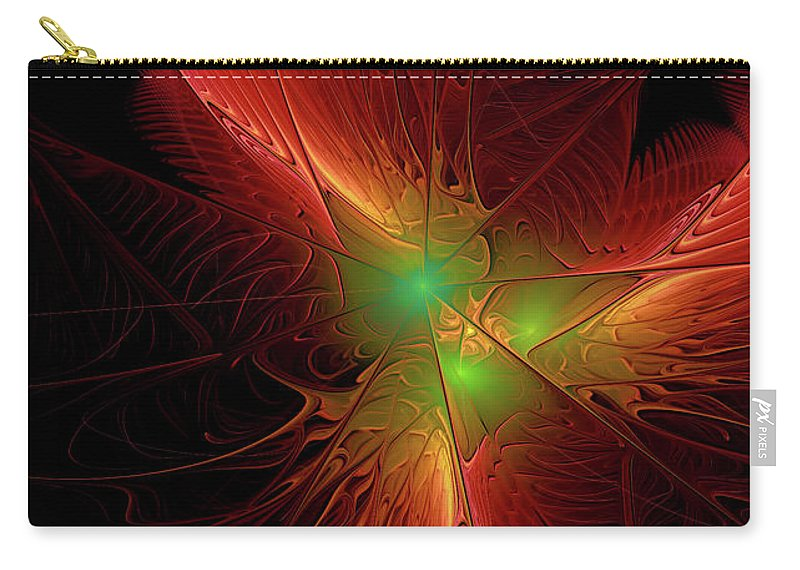 Fractal Carry-all Pouch featuring the digital art In Red 0020 by Deborah Benoit