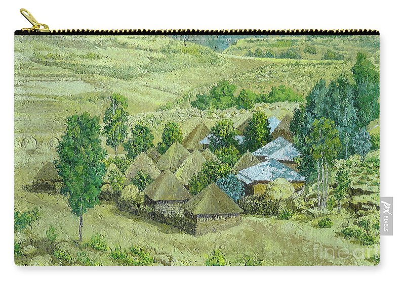 Landscape Carry-all Pouch featuring the painting In Selale, Ethiopia by Yoseph Abate